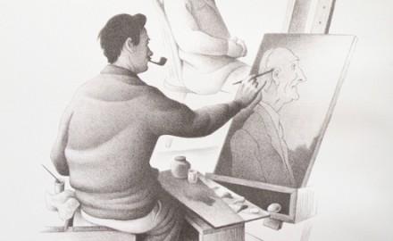 Tom Benton Painting a Portrait-1939