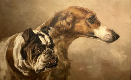 Portrait of a Borzoi and a Bulldog