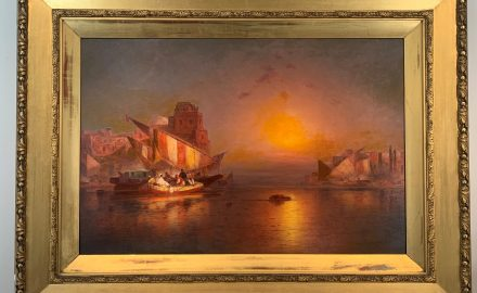 Orientalist Port Scene at Sunset